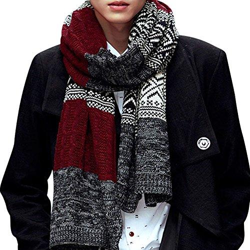 CHIC-CHIC Herren Frauen lang Schal Winter Fashion groß warm weich Strickschal Loopschal Weiseschal (Rot) Große Herren Schals