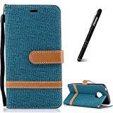 Schutzhülle für Moto G5 Grün,Slynmax Notebook Flip Cover Hülle Wallet Case Handyhülle für Moto G5 Tasche Matted PU Leder Klapphülle Ledertasche Lederhülle Stand Kartenfächer (Denim Jeans Design)