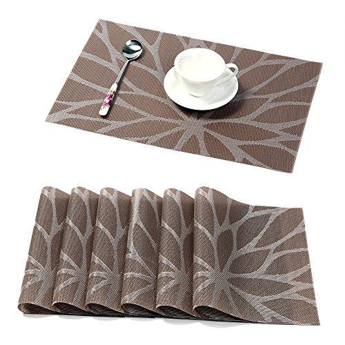 Pauwer Platzmatten 6er Set Gewebtes Vinyl Platzmatten, Hitzeresistente Tischmatten, Ruschfeste, Waschbare Platzmatten für den Küchentisch (6er Set, Braun)