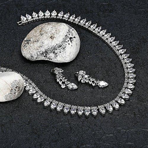 AnaZoz Bijoux Parurus Fantaisie Femme Collier Argent Incrusté de AAA Zircone Cubique Forme de la Pierre: Poire Boucles d'Oreilles & Collier Sets Transparent