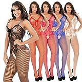 Damen Unterwäschen Reizwäsche Netz Strumpfhose Bodystockings Hohle Frauen Bodysuit Nachtwäsche Dessous- Gr. one size, Weiß