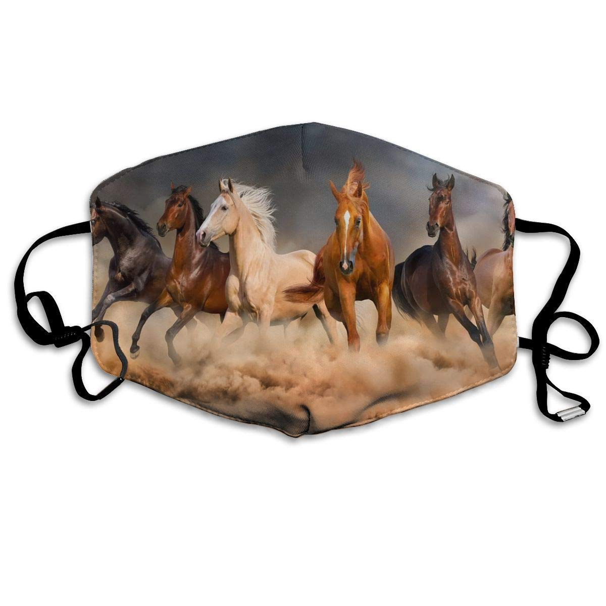 Bdwuhs Mascarillas Bucales Face Mouth Mask, Running Horse Washable Mouth Mask Half Face Mouth Mask for Men Women White