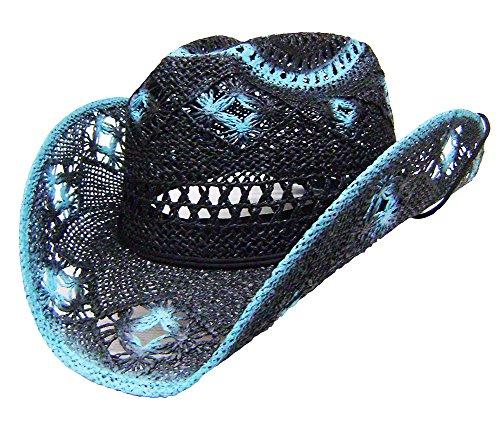 Modestone Women's Straw Cowboy-Hut Black Turquoise (Larry Mahan Cowboy-hüte)