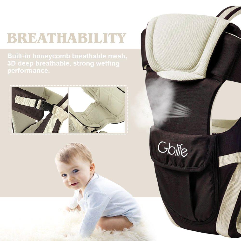 color caqui ELENKER Mochila Portabeb/é/ergon/ómica multifuncion transpirable 4 en 1 con 4 modos para porta bebe con comodidad,para recien nacido al 30 meses