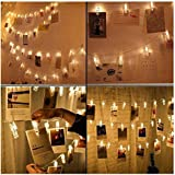 TANGO FORTUNE LED 20 Clips Remote String Lights, Battery Operated (Yellow, 10 ft)