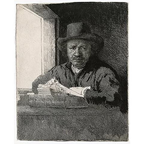 Rembrandt Harmenszoon van Rijn - Self Portrait Leaning on Stone Sill - Extra Large - Matte Print