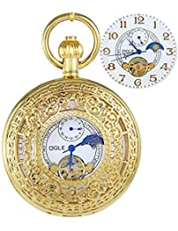 Ogle para hombre Mujer Impermeable oro patrón blanco fases y Tourbillon luna cadena llavero esqueleto automático mecánico reloj de bolsillo