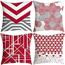 BBestseller 4 Pack Funda de cojín para Sofá,Moda Geometría Suave Funda de Almohada Pana