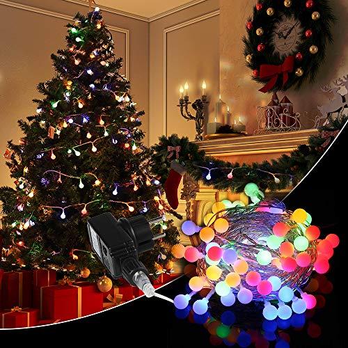 Guirlande lumineuse Piles Multicolore extérieur, lumière de fée 100 LED boules 10M 8 Modes Décoration intérieur Pour Jardin Mariage Chambre Fête Soirée Noël Arbre de Patio Café