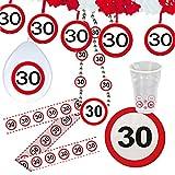 Cinta de contención 30 cumpleaños señal de tráfico Banner fiesta Banda prohibido el paso Banda aniversario Cinta fiesta cumple Barrera de plástico Elemento de contención