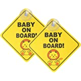 kuou 2 pcs Baby on Board Car Warning, Baby on Board Sticker Sign for Car Warning with Suction Cups