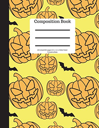 Composition Book 100 sheet/200 pages 8.5 x 11 in.-Wide Ruled- Pumpkins/Bats: Halloween Notebook for Kids | Student Journal | Spooky Writing ... | Scary Writing Notebook |Soft Cover Notepad por Goddess Book Press