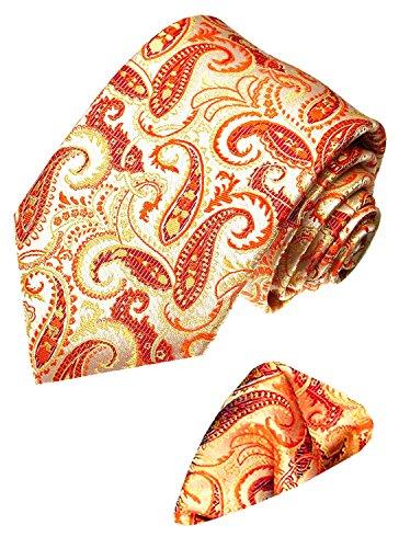 Lorenzo Cana - Marken 2 er Set 100% Seide - Krawatte mit Einstecktuch Lachs Orange Apricot Paisley - 2500101 -