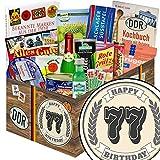 Geschenke zum 77. | Spezialtiäten Geschenkset | Geschenk Korb | DDR Box | 77 Geburtstag Geschenke Oma | INKL DDR Kochbuch