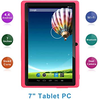 "Haehne 7"" Tablet PC, Google Android 4.4 Quad Core, 512MB RAM 8GB ROM, Cámaras Duales, Pantalla Táctil Capacitiva, WiFi, Bluetooth, Rosado"