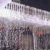 DulceCasa 3x3m 300Pcs Guirnaldas Bombillas Lámpara LED decorativo Fiesta Navidad Decoración Árbol Cortina Luminosas luz Blanco Frío