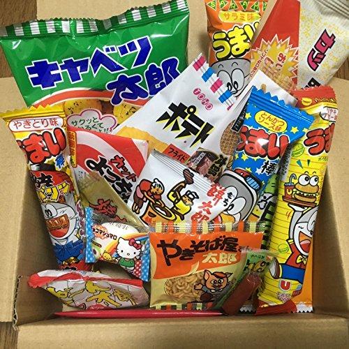 Dagashi Box japanische Snacks 23pcs Umaibo Süßigkeit Gumi Kartoffel Chip Kitty Schokolade mit AKIBA-KING Aufkleber -