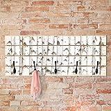 Bilderwelten Wandgarderobe Holz - No.YK15 Birkenwand - Haken schwarz - Quer, Garderobenpaneel Holzpaneel Kleiderhaken Flurgarderobe Hakenleiste Holz Hängegarderobe inkl. Haken, Größe HxB: 40cm x 100cm