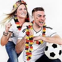 German Trendseller 24 x Hawaiianische Deutschland - Blumen Kette ┃ NEU ┃ Deutschland Party ┃ WM Jubel - Hula Kette ┃ 24 Stück