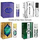 Arochem Zannatul Firdaus, Black Oudh ,Nawab Saheb and Azaan Attar, Combo of 4, 2ml each