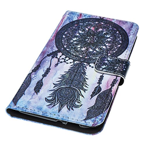 Custodia per Zenfone 3 MAX ZC520TL, ISAKEN Accessories Cover Per Asus Zenfone 3 MAX ZC520TL PU Pelle Portafoglio Custodia, Elegante borsa Drawing Pattern Design in Sintetica Ecopelle Libro Bookstyle W Dreamcatcher nero