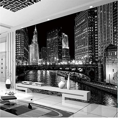 Guyuell Benutzerdefinierte 3D Wandbild Tapete Schwarzweiß Stadt Nacht Landschaft Wandbilder Wohnzimmer Tv Hintergrund Wand Moderne Einfache Papel De Parede-400Cmx280Cm