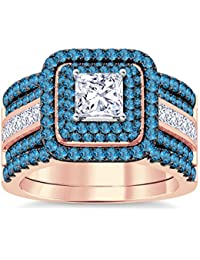 Silvernshine Enhancer Ring Guard & Engagement Ring Set Rose Gold Plated Aquamarine Sim Diamonds