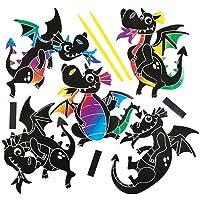 Baker Ross Kit de imanes para rascar con Forma de dragón Que los niños Pueden diseñar, Crear y exhibir - Kit de Manualidades Creativas para niños (Pack de 10).