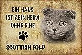 EIN Haus ist kein heim ohne eine Scottish Fold Katze Metal Sign deko Schild Blech Garten