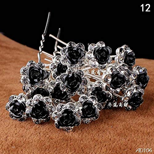 Mont cherry high quality elegant rose flower crystal diamante da sposa forcine per capelli vari colori 10spilli con mont cherry argento bindi/tattoo pack by trendz