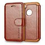 Coque iPhone 4s,Mulbess [Credit Card Slot Vintage Series] Housse Etui en cuir Avec Wallet UltraSlim pour Apple iPhone 4s 4 - Café Brun [Flip Housse étui Wallet Case Cover]
