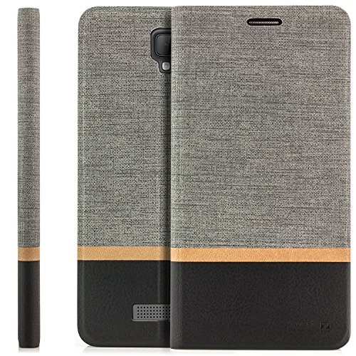 Zanasta Designs Tasche ZTE Blade L5 Plus Hülle Flip Case Schutzhülle Handytasche mit Kartenfach Grau