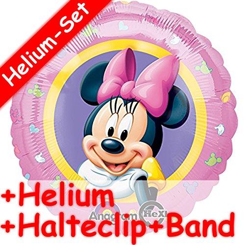 Folienballon Set * MINNIE MAUS * + HELIUM FÜLLUNG + HALTE CLIP + BAND * // Aufgeblasen mit Ballongas // Deko Geburtstag Folien Ballon Luftballon Mouse Disney