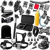 Zookki Accesorio Kit para GoPro Hero 5 4 3+ 3 2 1 Black Silver, Caméra Accessoires para Acción Cámara Xiaomi Yi/Lightdow/WiMiUS/DBPOWER, SJ4000 SJ5000 SJ6000
