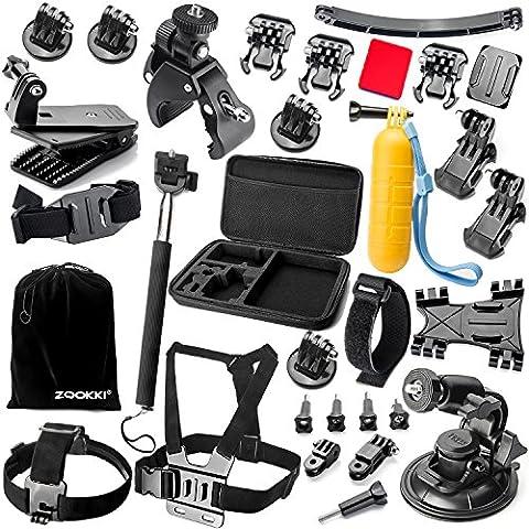 Zookki Accessoires Trousse pour GoPro Hero Black Silver 5 4 3+ 3 2 1, SJ4000 SJ5000 SJ6000, et pour Lightdow/Xiaomi Yi/WiMiUS/DBPOWER/Campark d'action Caméra