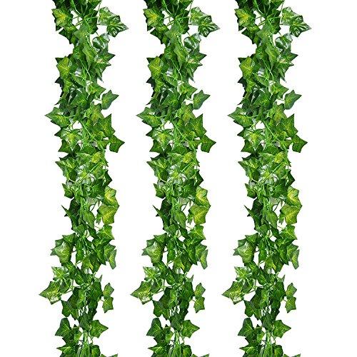 NzamBles Piante Sospese Artificiali 25 Metri Edera a Foglie Verdi, Edera Rampicante Ghirlanda 12 Pezzi Decorativa con Foglie Verdi, Decorazione per casa, Matrimonio, Giardino, Ufficio