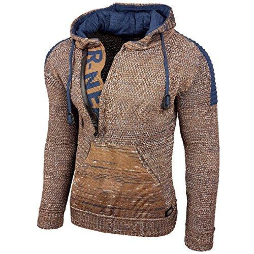 Rusty Neal Top Herren Winter Kapuzenpullover Pulli Sweatshirt Jacke RN-13277, Größe:L, Farbe:13290-1 Camel/Petrol