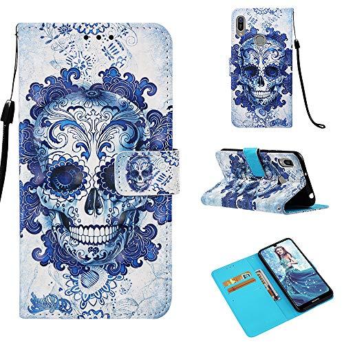 StarCity Huawei Y6 (2019) Hülle, [Kickstand Funktion] 3D Folio Flip Wallet Case mit Handschlaufe/Kartenfächer/Seitentasche für Huawei Y6 / Y6 Pro (2019) / Honor Play 8A, Skull Blue