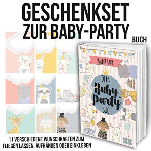 Geschenkset für Freundinnen und Freunde zur Baby-Party mit Erinnerungsalbum inkl. Einladungskarten und Postern zum Download - und 11 Wunschkarten zum ausfüllen, fliegen lassen, einkleben oder aufhängen