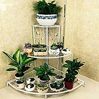 Estantería de hierro forjado de dos niveles para balcón de suelo con múltiples capas para macetas, estante de jardín verde, estantería para salón y orquídeas para colgar, hierro, Blanco, 86x60x65cm