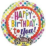 * SINGENDER * Folienballon * HAPPY BIRTHDAY TO YOU * für Geburtstag // Kindergeburtstag Folien Ballon Party Helium Deko Ballongas Luftballons singing Balloon