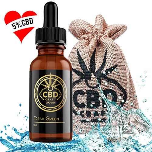 PREMIUM CBD E Liquid 5{a9a340ddd6472f10f5fbdfe6d43b302b888473c3d53753065836cbdd82b3f493} I Aroma Liquid FRESH GREEN I PG80 / VG20 I 5 Prozent CBD Hanföl für die e Zigarette e Shisha Ohne Niktotin I 500 mg CBD 10 ml