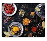 MSD Natural Rubber Gaming Mousepad IMAGE ID: 30401554 Set of spices pepper turmeric anise coriander in vintage metal cups over old wooden table Top view