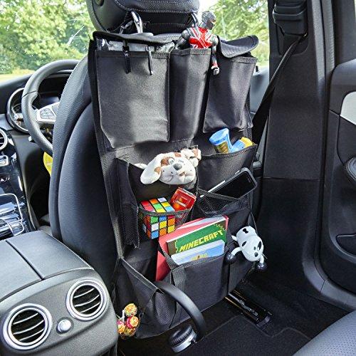 VINSANI Deluxe Multi Pocket Auto Rücksitz-Organizer Aufbewahrungstasche zum Aufhängen, Schwarz