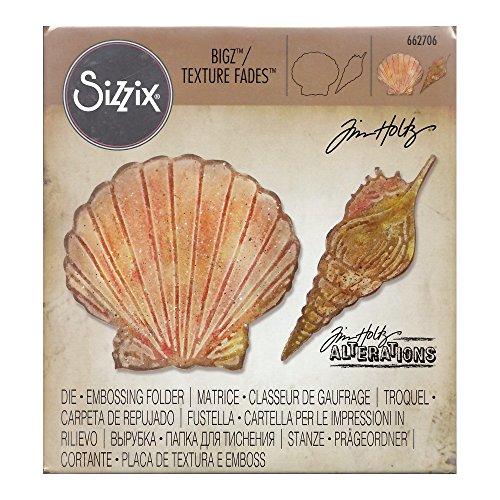 Sizzix Bigz Stanzschablone W/Textur Fades Prägung folder-seashells von Tim Holtz, Holz/Stahl/Kunststoff, mehrfarbig, 17,3x 14x 1,9cm (Handwerk Projekte Seashell)