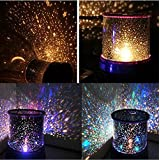 CONNECTWIDE® Star Master Colorful Romantic LED Sky Starry Moon Beauty Night Projector Bed Side Lamp with USB Cable (Black) Size;(12*12*10 cm)