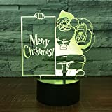 Leisurely Lazy Merry Christmas Colorful Gradients 3D Optical Illusion Lamp 7 Colors Change Touch Button and 15 Keys Remote Control Children Kids Bedside Table LED Night Light