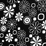 NOVELY Oxford Polyester Stoff Schwarz Weiss Blumen