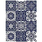 Vinilos Adhesivos de Azulejos Talavera para Pared de Cocina y Baño, 60 x 80 cm, 12 Piezas (20 x 20 cm)