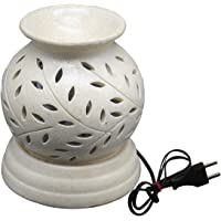 Artlik Handicrafts Glossy Finish Aroma Oil Ceramic Diffuser Burner in Matka Shape with Electric Bulb and Oil for Room…